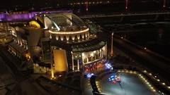 Light painted buildings Aerial Stock Footage