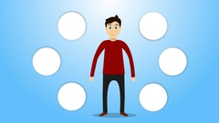 Man cartoon character. Followed to insert icons. Alpha channel Stock Footage