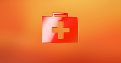 First Aid Medical Kit Red 3d Icon Stock Footage