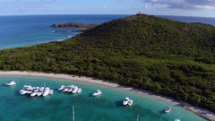 Aerial view of turtle beach, culebrita, playa tortuga, Puerto Rico Stock Footage