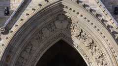 Ottawa parliament peace tower details close up panning up Stock Footage