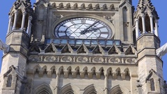 Ottawa parliament peace tower clock and flag details close up panning up Stock Footage