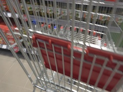POV consumer shopping carts in the market  Stock Footage
