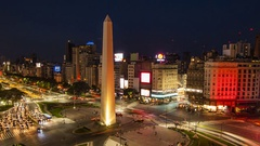 Time lapse of traffic in Avenida 9 de Julio at night, city center, Buenos Aires Stock Footage