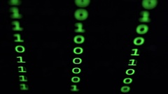 Closeup of binary code in green digits on a computer screen Stock Footage