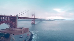 Fly Over the Golden Gate Bridge in San Fransisco Stock Footage