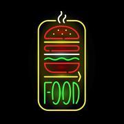 Light neon food label vector illustration Stock Illustration