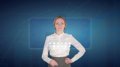 Business woman makes a financial analysis on touch screens. Financial trading Stock Footage