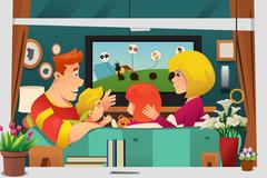 Family Watching TV at Home Stock Illustration
