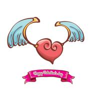 Vector valentines day pink heart with angel wings Piirros
