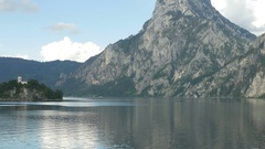 Johannesberg Chapel and Traunsee, Traunkirchen, Austria (zoom) Stock Footage