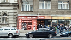 Currency exchange office in the old town of Prague, Czech Republic Stock Footage
