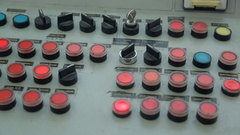 On the mechanism of the control panel flashes a lot of buttons Stock Footage