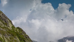 Great St Bernard Pass alps switzerland mountains snow peaks ski timelapse Stock Footage