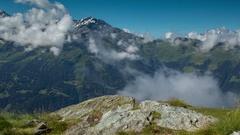 Verbier alps swtizerland mountains snow peaks ski mont fort sunrise Stock Footage