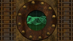 Round Digital Screen on Rusty Steam Punk Background  -    Video Footage Stock Footage