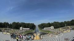 Famous Great Cascade fountain Peterhof, Saint Petersburg, Russia Stock Footage