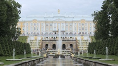 The famous big fountain and the Lion fountain Peterhof, Saint Petersburg, Russia Stock Footage