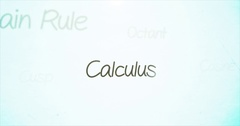 Camera pans over mathematics terminology   Calculus Stock Footage