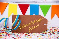 Party Label With Streamer, Geburtstagsfeier Means Birthday Celebration Kuvituskuvat