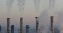 Smog spreading in the air from chimney of incineration plant Stock Footage