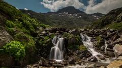 Great St Bernard Pass alps switzerland mountains waterfall Stock Footage