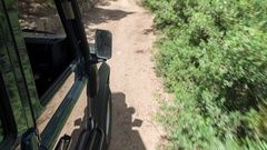 Drive off-road coast dirt track 4x4 camoervan Stock Footage