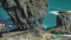Wales green bridge coast pembrokeshire nature timelpase Stock Footage