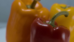 Close up shot of colorful bell peppers Stock Footage