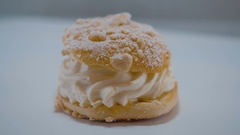 Fresh from the bakery - crumb cake with cream - tasty pastries Stock Footage