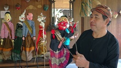 Traditional, Balinese theater puppets at Taman Nusa Cultural Park Stock Footage
