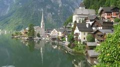 Classic view of Hallstatt, Austria (pan) Stock Footage