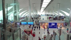 Modern Concourse in main Passenger Terminal at Airport, with Sound Stock Footage