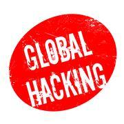Global Hacking rubber stamp Stock Illustration