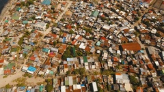 Aerial view slums of Manila, the poor district. Philippines, Manila Stock Footage