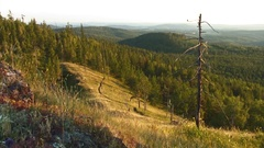 Southern Ural - view from the mountain - evening Stock Footage