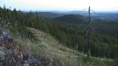 Southern Ural - view from the mountain - dusk Stock Footage