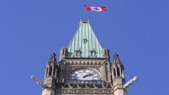 Ottawa parliament peace tower clock and flag Stock Footage