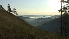Southern Ural - view from the mountain - sunrise Stock Footage