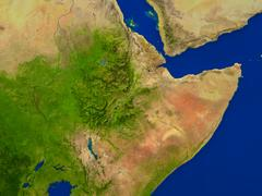 Ethiopia from space in red Stock Illustration