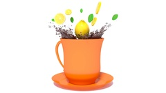 Cup of tea with lemon and splash. 3d illustration Stock Footage