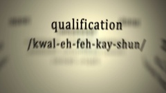 Definition: Qualification Stock Footage