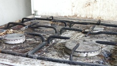 Very Dirty Gas Burner In The Kitchen Stock Footage