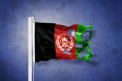 Torn flag of Afghanistan flying against grunge background Stock Illustration