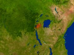 Rwanda from space in red Stock Illustration
