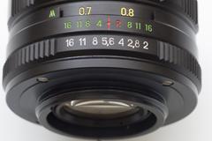 Camera photo lens over white background Stock Photos