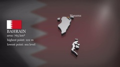 3D animated Map of Bahrain Stock Footage