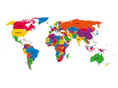 Multi-colored political vector map of World with national borders and country Stock Illustration