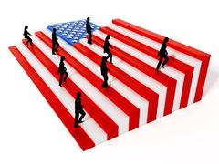 American flag with stripes arranged as ladders. 3D illustration Stock Illustration