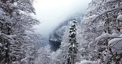 Konigssee Aerial Lake Snow Bavaria Austria Germany Winter 20 Stock Footage